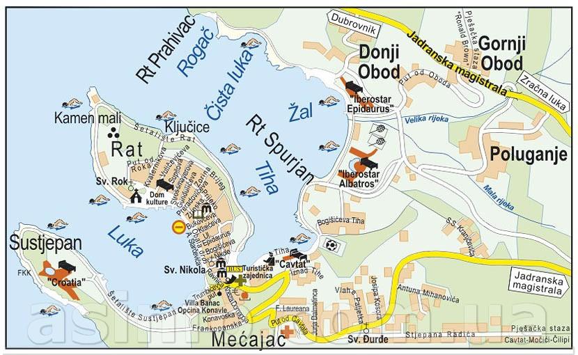 Схема курорта Цавтат